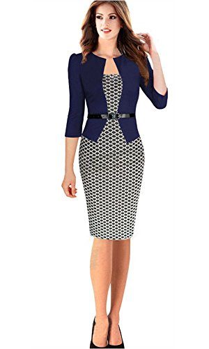 Babyonline 3/4 Sleeve Women Office Dress Patchwork Pencil Dress for sale