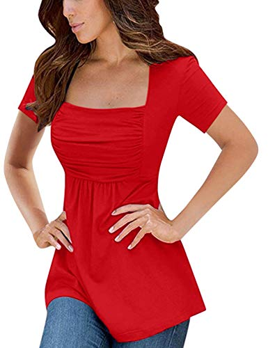 Yesfashion Womens Square Neck Ruched Tops Empire Waist Tunics Short Sleeve Red XL