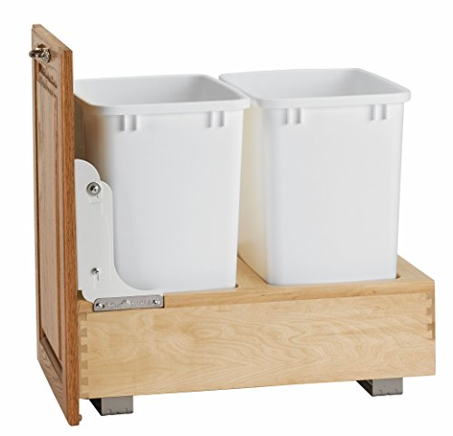 Natural Wood Dual Track - Rev-A-Shelf Double 35 Quart Pullout Waste Container, Natural