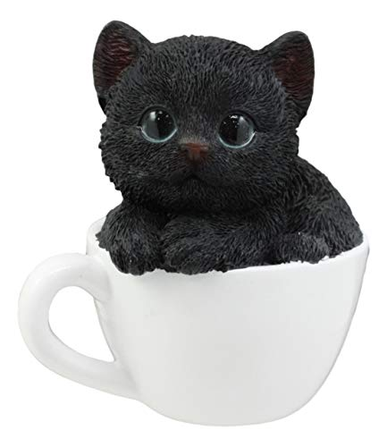 Ebros Lifelike Witching Hour Black Cat Teacup Pet Pal Statue 3