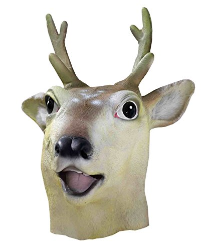 [Forum Novelties Men's Deluxe Latex Deer Mask, Multi, One Size] (Deer Deluxe Latex Mask)
