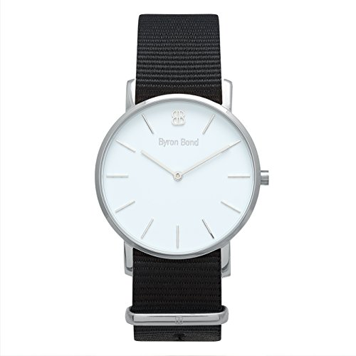 38mm Ultra Thin Slim Case Minimalist Fashion Watch for Men & Women by Byron Bond (Oxford - Silver Case with White Dial and Black NATO Strap)