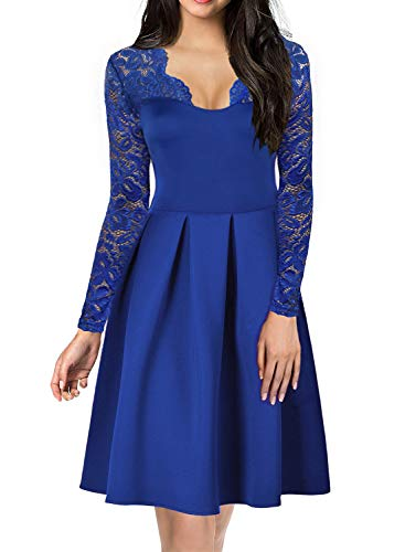 (Cocktail Dress for Women's 1940 50's Vintage V-Neck Floral Lace Long Sleeve Stretch Ladies Bridesmaid Party Dresses 189 (M, Blue))