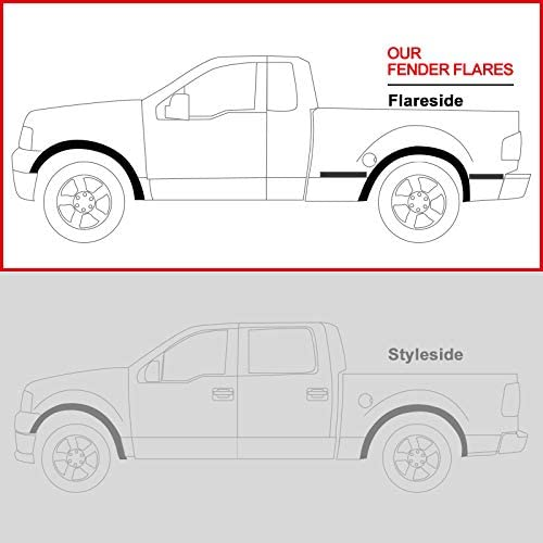 Carpartsinnovate For 04-08 F150 Flareside Pickup Factory OE Bolt-On Style Paintable Fender Flares