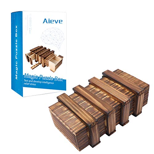 Puzzle Box,Magic Box Wooden Puzzle Box Secret Compartment Brain Teaser Box Game Money Gift Box Puzzles Boxes for Adults Kids Toddlers]()