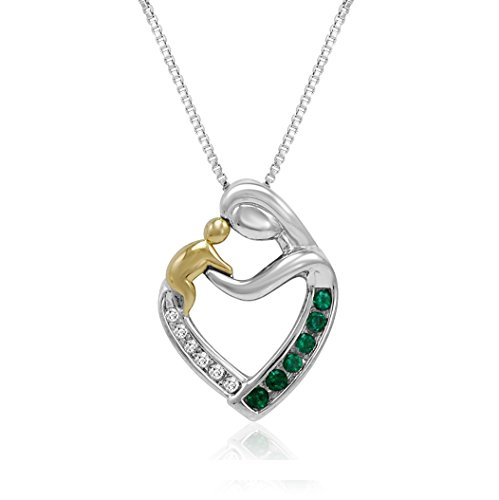 Created Gemstone and Diamond Mother and Child Heart Pendant-Necklace