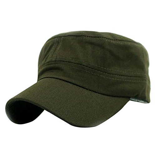 iYBUIA Classic Solid Plain Vintage Army Military Cadet Style Cotton Cap Hat Adjustable -