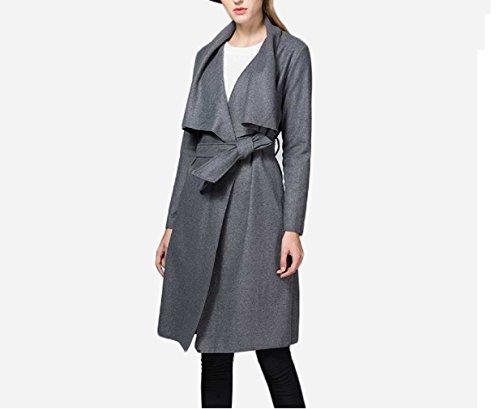 ... OUMIZHI Damen Mantel Trenchcoat mit Gürtel Onesize Lang und Kurz Grau  XoakvBD3 29c0258db8
