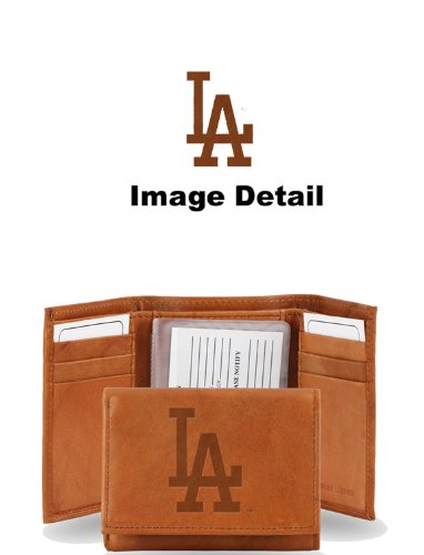 MLB Los Angeles Dodgers Embossed Genuine Cowhide Leather Trifold Wallet