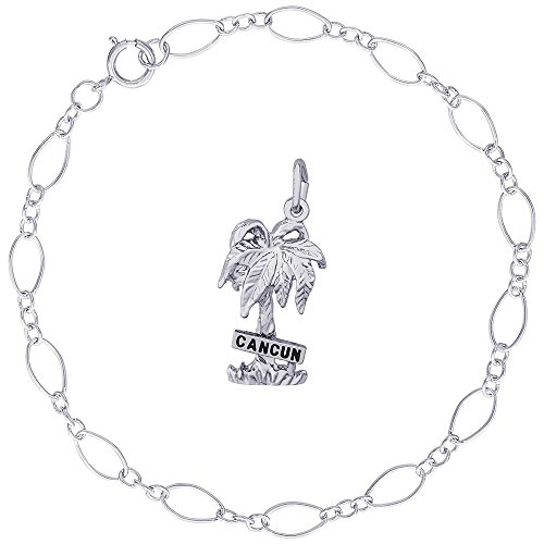 Rembrandt Charms Sterling Silver Cancun Palm Tree Charm on a Figaro Link Bracelet, 8