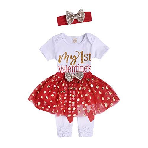 4Piece Infant Baby Girls Outfit Set,Valentine Romper Sequins Dot Tutu Skirt Leg Warmers Headband Suit for Toddler Kids