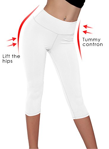 Splendor flying Women's Yoga Capri Legging Inner Pocket Non See-Through Fabric Leggings (Large, -