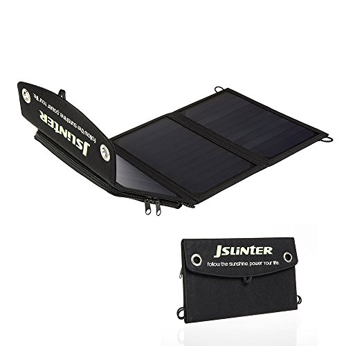 Jslinter 18W Portable Solar Charger with Dual USB Output Build with High Efficiency Solar Panel for All USB Device