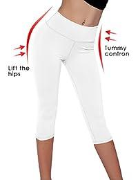Women's Yoga Capri Legging Inner Pocket Non See-Through Fabric Leggings