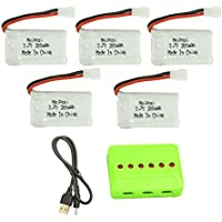 Noiposi Upgraded 5PCS 3.7V 300mAh 25C LiPo Battery with 1 in 6 Charger for FQ777,FQ17W RC Quadcopter Drone with FPV Camera,Syma X11,Hubsan X4 H107C H107D H107L,JJRC H22