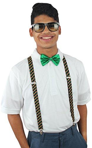 [Enimay Unisex Halloween Nerd Geek Costume Adjustable Suspender Bowtie Glasses Rastafarian Flag | Green | Gradient One] (Halloween Nerd Accessories)