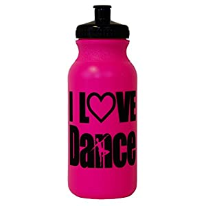 I Love Dance Silhouette Hot Pink Water Bottle