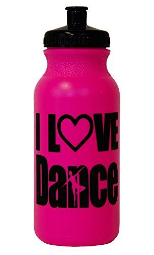 I Love Dance Silhouette Hot Pink Water Bottle