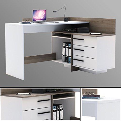 Eck-Schreibtisch weiß EICHE Schreibtisch Computertisch Eckschreibtisch PC-Tisch