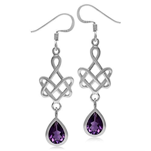 2.14ct. 8x6MM Pear Natural African Amethyst 925 Sterling Silver Celtic Heart Knot Dangle Earrings