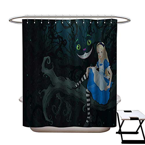 (BlountDecor Alice in Wonderland Shower Curtains Digital Printing Alice Sitting on Branch and Chescire Cat in Darkness Cartoon Style Satin Fabric Bathroom Washable W72 x L72 Multicolor)