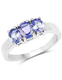 Genuine Oval Tanzanite Ring in Sterling Silver - Size 7.00