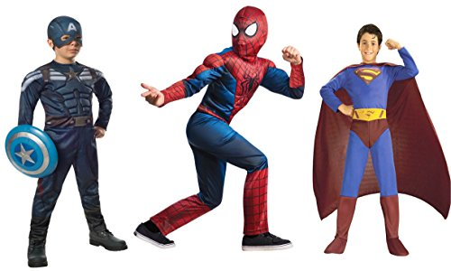 [Deluxe Super Hero Costume 3 Pack - Superman Spiderman Captain America] (Hero Costumes For Men)