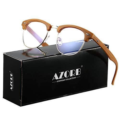 AZORB Retro Blue Light Blocking Computer Glasses Semi-Rimless Eyeglasses Frame Horn Rimmed (Bamboo ()
