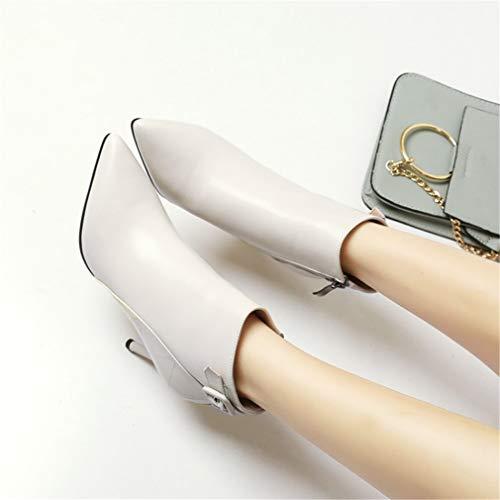 Mujer Alto Con Tacón Moda Botas Stilettos Para En Hebilla Cremallera Punta Yan Tacones Cuero Metal Botines Segundo Altos De qRI0WwcT