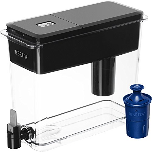 Brita Extra Large 18 Cup Filtered Water Dispenser with 1 Longlast Filter, Reduces Lead, BPA Free - Ultramax, Jet Black]()