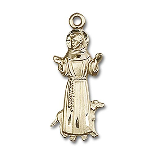 14kt Yellow Gold St. Francis Medal 1 x 3/8 inches by Unknown