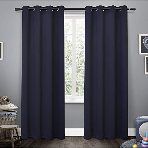 (Exclusive Home Sateen Twill Woven Blackout Grommet Top Curtain Panel Pair, Navy, 52x84)