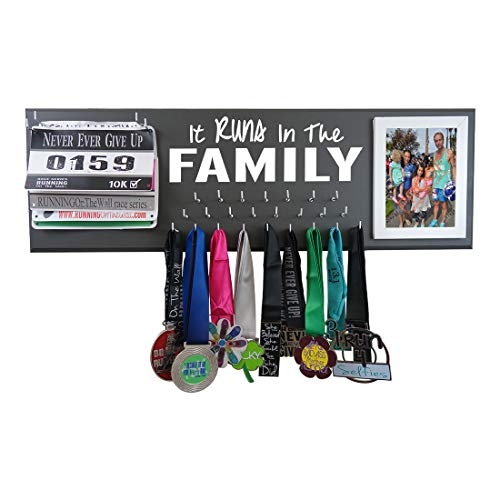 RunningontheWall Valentines Day Runners Medal Holder and Bib Hanger Valentines Gift for Family Runners IT Runs in The Family Medal Rack and Race Bibs with Picture Design
