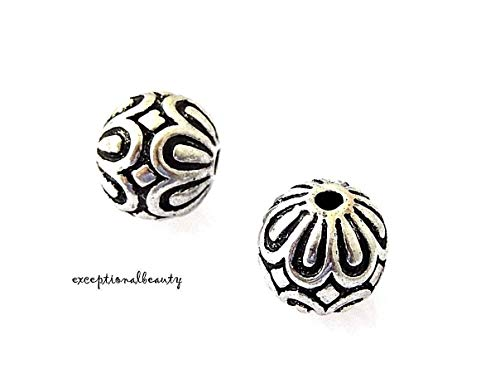 Pendant Jewelry Making 5 Antiqued Tibetan Silver 12mm Floral Round Focal Spacer Accent Beads (Sterling Silver Focal Pendant)