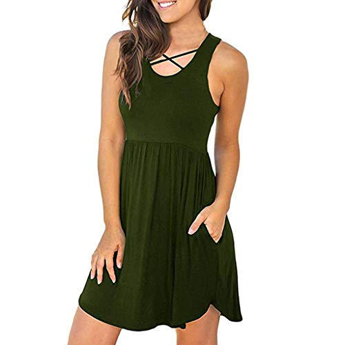 【MOHOLL】 Women's Sleeveless Loose Plain Dresses Casual Short Dress with Pockets Green