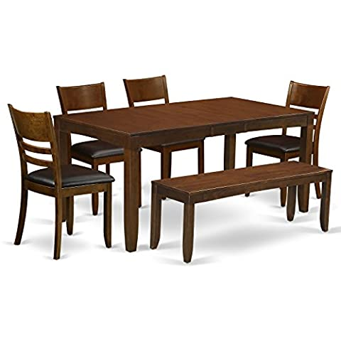 East West Furniture LYFD6-ESP-LC 6-Piece Dining Table Set with Bench, Espresso Finish - Extendable Dining Table Set