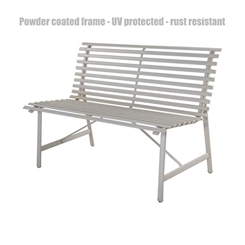 Garden Patio Grey Steel Slate Bench Outdoor Backyard Deck Park Porch Furniture Warm Grey Design Chairs - Street Queen Auckland Shops