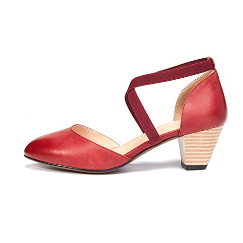 KJJDE Sandalias Mujer Zapatilla Chanclas WSXY-L0321 Correas Elásticas Cruzadas Confort Tacón Zapatos Para Caminar Wine