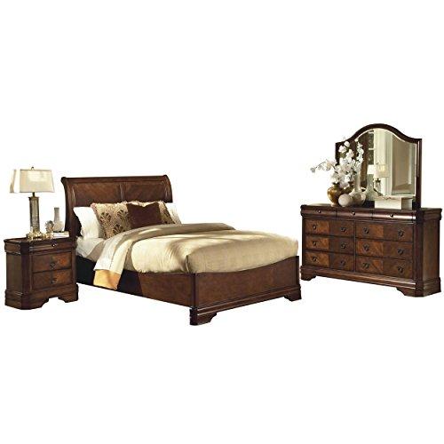 Savona Sleigh 4 Piece Cal King Bed, Nightstand, Dresser & Mirror in Burnished Cherry (Sleigh Suite King Bedroom)