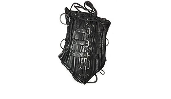 Black Underbust Leather Unisex Gothic Corset Steampunk 1249
