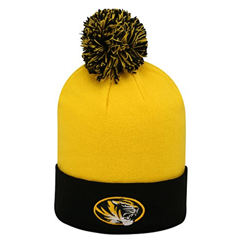 Missouri Tigers NCAA Pom Cuffed Knit Two Tone Beanie Stocking Hat Cap (2 Tone Ncaa Cap)