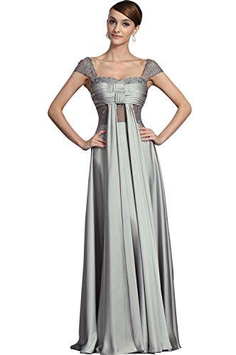 Dressesinstock Women's A-line Square Short Floor-length Evening Dress 16 Silver