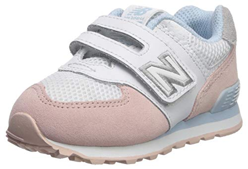 New Balance Girls' Iconic 574 V1 Hook and Loop Running Shoe, Oyster Pink/AIR, 10 W US Toddler
