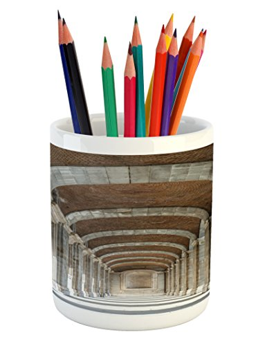 Lunarable European Pencil Pen Holder, Royal Palace Corridor Madrid Spain Historic Famous European Landmark Facade Picture, Printed Ceramic Pencil Pen Holder for Desk Office Accessory, Grey by Lunarable