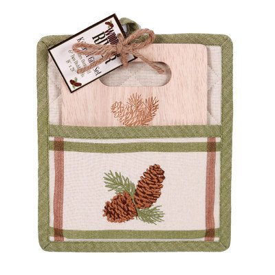 Pinecone Oven Mitt - Woodland River 2 Piece Pinecone Potholder and Cutting Board Gift Set