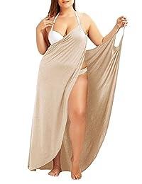 Plus Size Sexy Women Spaghetti Strap Cover Up Beach Backless Wrap Long Dress