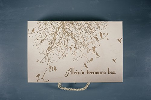 Large wooden personalized keepsake box engraved custom text - photo memories box - wedding gift box - Treasure box