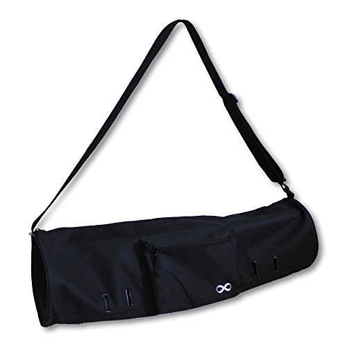 "YogaAddict Yoga Mat Bag 'Compact' With Pocket, 28"" Long, Fit Most Mat Size, Extra Wide, Easy Access - Black"