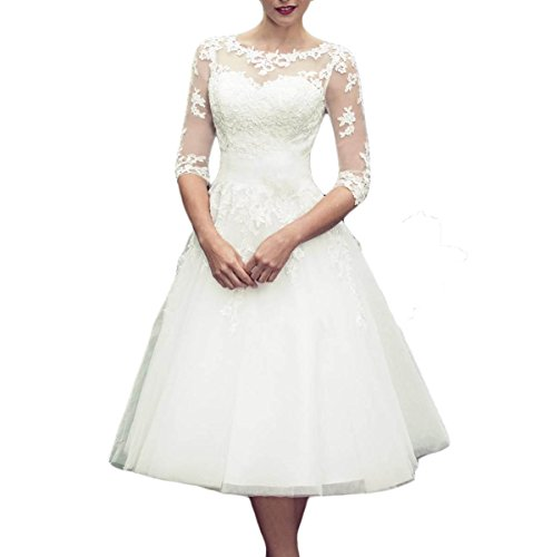 Udresses 1/2 Sleeves Tea Length Sheer Lace Wedding Dresses Scoop Neck Bridal Gown MMX-D68 Ivory 10