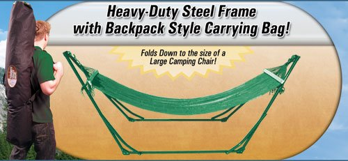 High-Grade Foldable Hammock (Green) Folding Hammock with Carrying Bag, Outdoor Stuffs